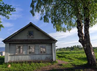 house village Russia birch