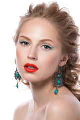 Beauty portrait of attractive blonde young girl