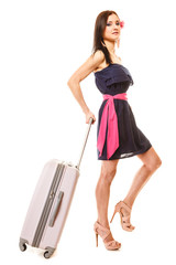Travel and vacation. Woman with suitcase luggage bag.