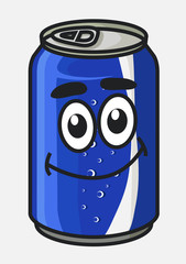 Blue cartoon soda or soft drink can