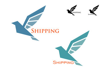 Shipping emblem with flying bird