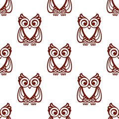 Cartoon brown owl  seamless pattern