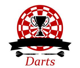 Darts emblem with trophy cup