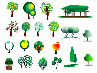 Abstract stylized tree icons
