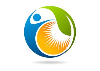 fitness logo natural leaf human sun