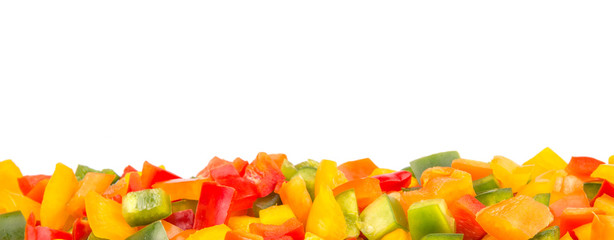 Colorful mix chopped capsicums over white background