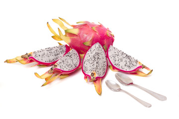 exotic dragon fruits isolated on a white background.