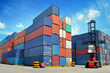 canvas print picture - forklift handling the container box