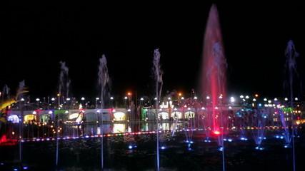 city night lights and illuminated fountains