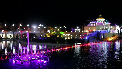 city night lights and illuminated fountains