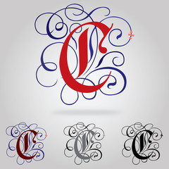 Decorated uppercase Gothic font - Letter C