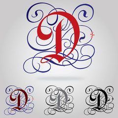 Decorated uppercase Gothic font - Letter D