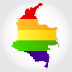 Rainbow flag in contour of Colombia