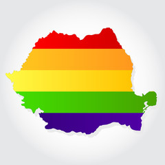 Rainbow flag in contour of Romania