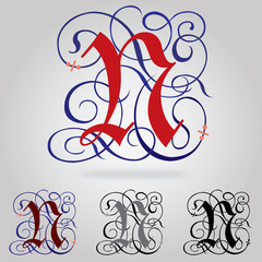 Decorated uppercase Gothic font - Letter N