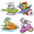 funny vehicle and animal set.