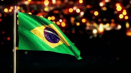 Brazil National Flag City Light Night Bokeh Loop Animation