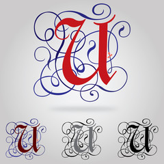 Decorated uppercase Gothic font - Letter U