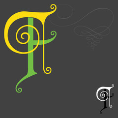 Music style English alphabets - Letter F