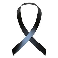 Black awareness ribbon on white background