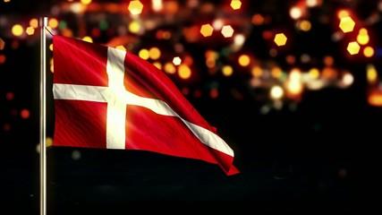 Denmark National Flag City Light Night Bokeh Loop Animation