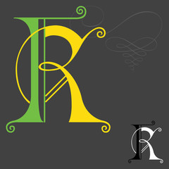 Music style English alphabets - Letter K