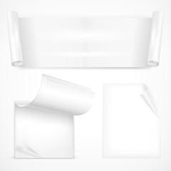 Set of white sheet papers