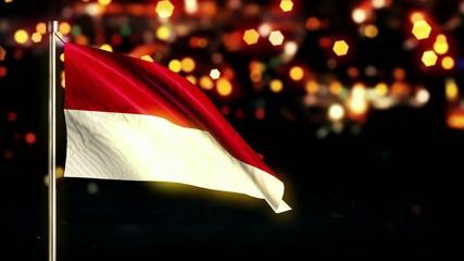 Indonesia Monaco National Flag City Night Bokeh Loop Animation
