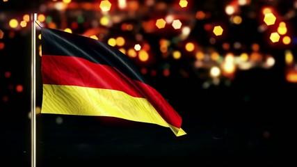 Germany National Flag City Light Night Bokeh Loop Animation