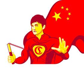 Mighty kung-fu Chinese superman with nunchaku