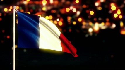 France National Flag City Light Night Bokeh Loop Animation