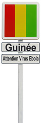 frontières drapeau de Guinée, attention virus Ebola