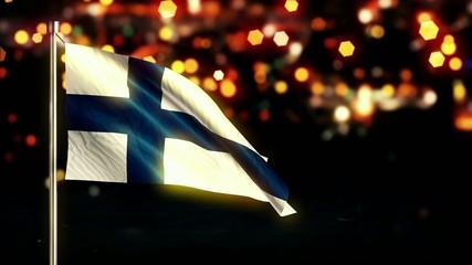 Finland National Flag City Light Night Bokeh Loop Animation