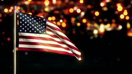USA America National Flag City Light Night Bokeh Loop Animation