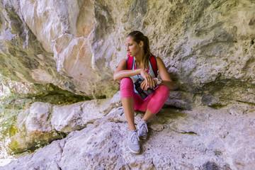 Young woman at hiking