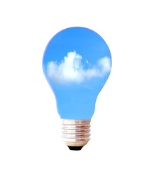 clouds and sky in bulb light isolate on white