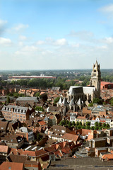 The panoramic view of Brugge, Belgium