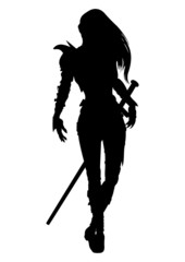 Silhouette knight woman with sword in fantasy armor