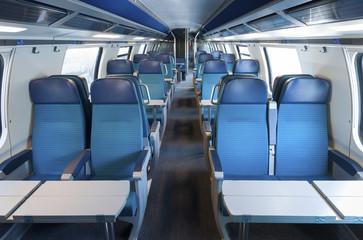 Interior of an empty train cabin