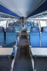 Interior of an empty train cabin