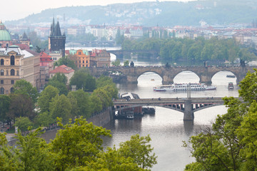 Spring view of Vltava river with main pragues bridges