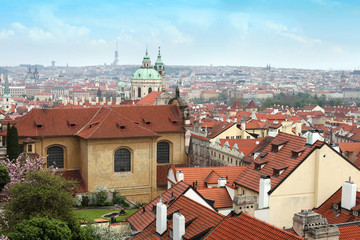 Panoramic view of old Prague from Hradcany