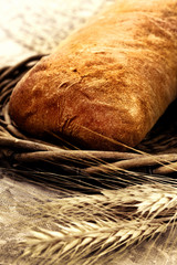 Fresh baked bread  italian ciabatta with wheat