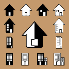 Vector house icon in black and white