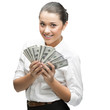 thoughtful businesswoman holding money