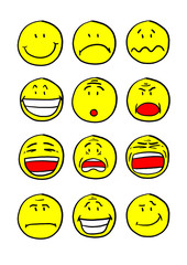 Twelve smiley faces with different expressions