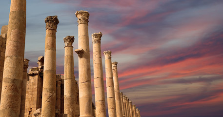 Roman Columns in the Jordanian city of Jerash (Gerasa)
