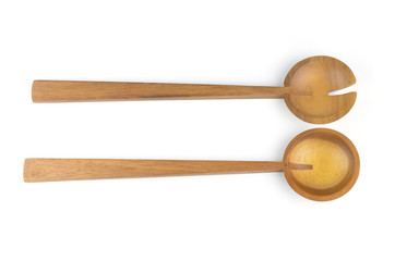 Wooden spoon isolated on white with clipping path included