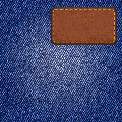 Jeans texture with leather label. Vector