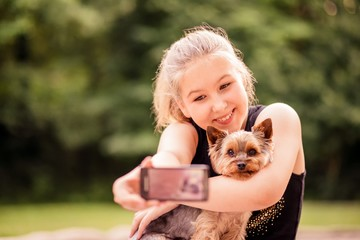Selfie child and dog